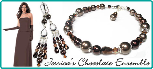Custom bridesmaid bracelets and chandelier earrings in chocolate brown and topaz beads.