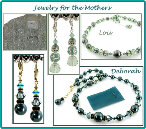 Carefully chosen beads were used to perfectly match the mother of the brides' sage green and teal dresses