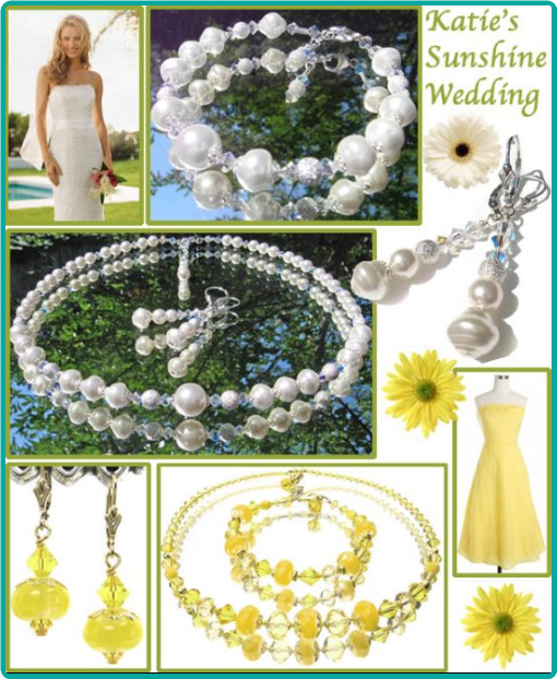Custom sunshine yellow lampwork and crystal jewelry for the bridesmaids, and pearl and crystal jewelry for the bride.