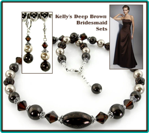 Deep chocolate brown and bronze beads with sterling silver, made these custom necklaces an elegant complement to the bridesmaids' dresses.