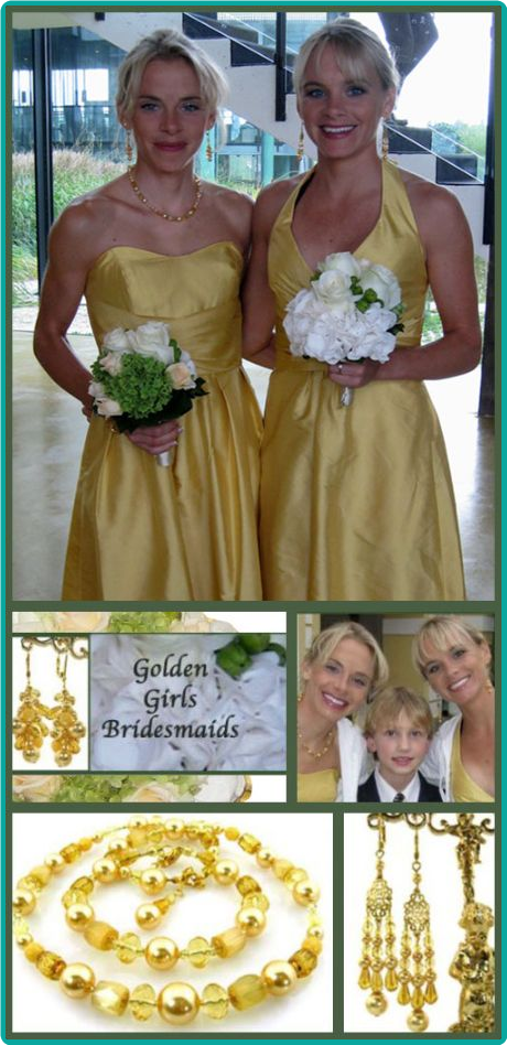Custom golden yellow bridesmaid jewelry made to match their sunshine yellow dresses.