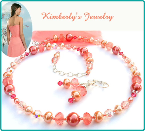 Custom bridesmaid jewelry of pearls, crystals and cherry quartz were made to match the dress fabric of soft coral pink chiffon.