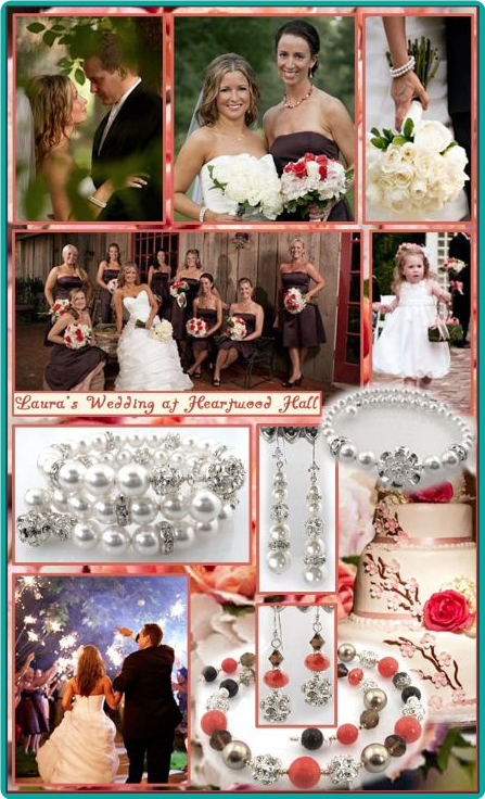 Rhinestone-studded bride and bridesmaid jewelry in white, peach, coral and brown