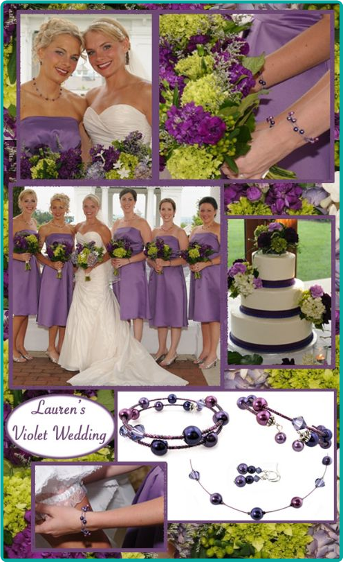 Custom floating pearls bridesmaid jewelry in hydrangea purple, violet  violet, and lilac