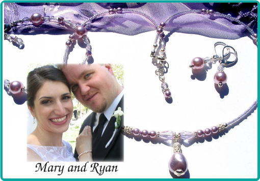 Delicate lavender necklaces and earrings were made to match the bridesmaids' dresses for Mary and Ryan's wedding.
