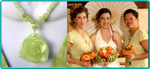 Beautiful light lime serpentine jade gemstone necklaces were custom-made to match the bridesmaid dresses perfectly.