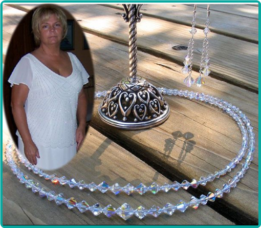 Mother of the bride custom jewelry included a dazzling double strand crystal necklace, and double-drop crystal earrings.