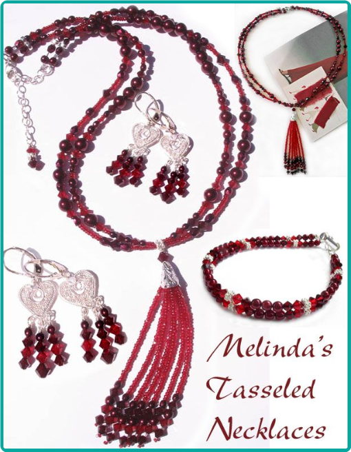 Custom cranberry jewelry for the bridesmaids included a tasseled necklace, double-strand bracelet and chandelier earrings.