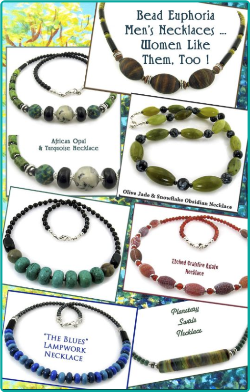Men's unique handcrafted stone bead necklaces by Bead Euphoria Jewelry
