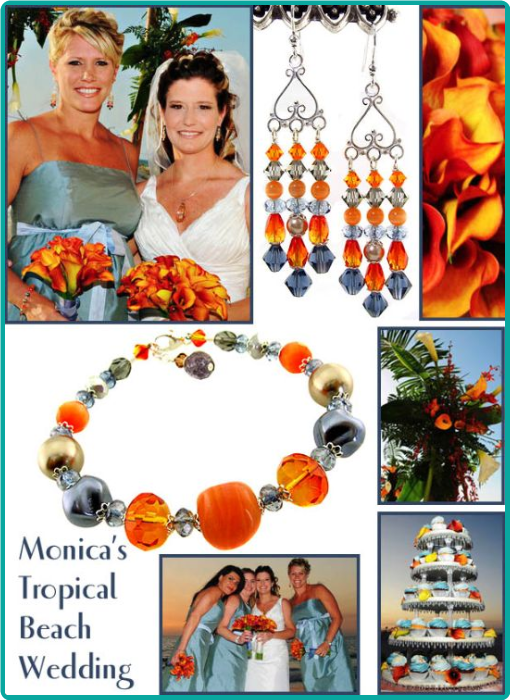 """Sand and sea"" bridesmaid bracelet and chandelier earrings in glowing orange and blue to match the Florida sunset"