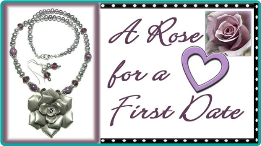 A sterling silver rose and pearl necklace as a gift on a first date.