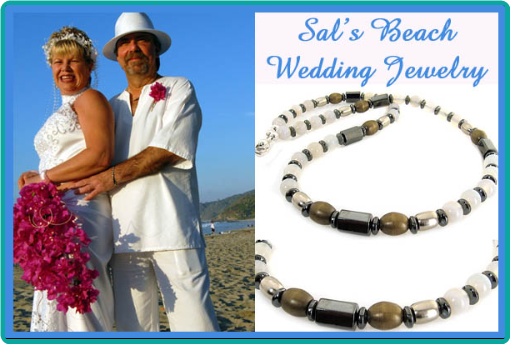 A custom necklace for the groom to wear at his beach wedding was made of sandy colored Botswana agate, hematite and brass.