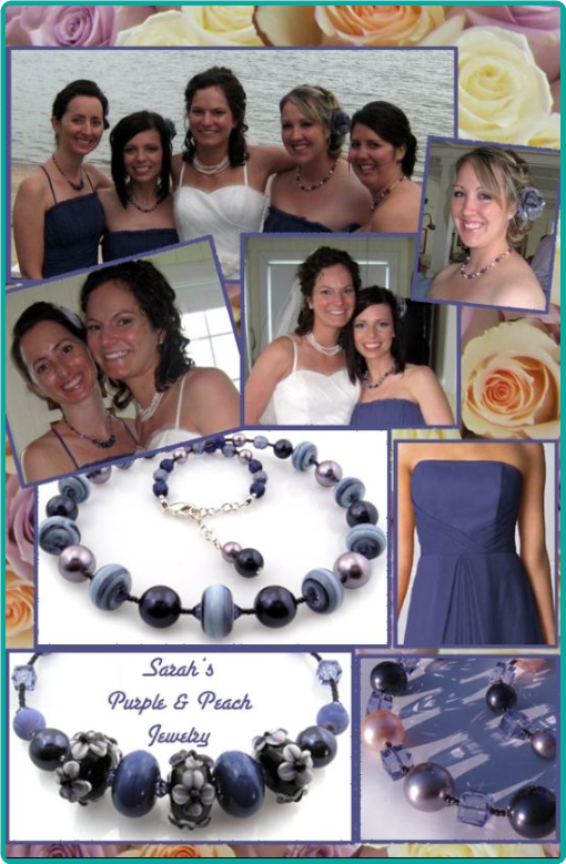 Custom designed purple lampwork and peach pearls bridesmaid necklaces