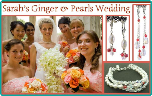 Ginger pink crystals and freshwater pearls combined to make customized bridesmaid jewelry