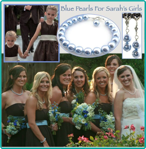 Light blue pearl necklaces custom made to match the bridesmaids' chocolate brown and blue dresses