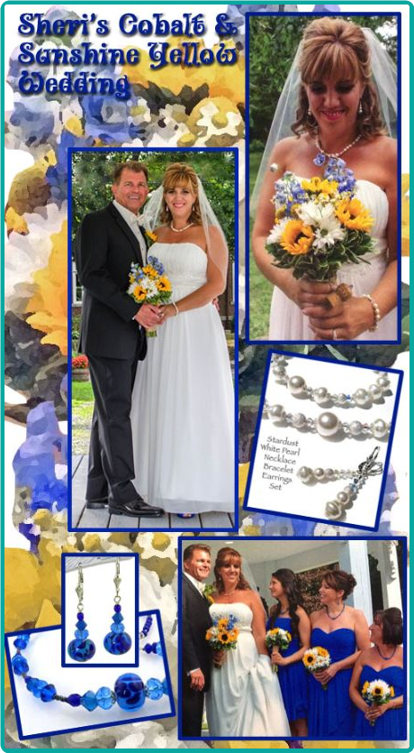 Custom bridesmaid jewelry in cobalt blue, sunshine yellow and daisy white