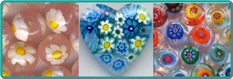 Examples of Venetian millefiori beads, showing the little flowers embedded in the glass.