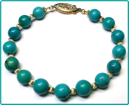 Custom order turquoise gemstone and gold bead bracelet