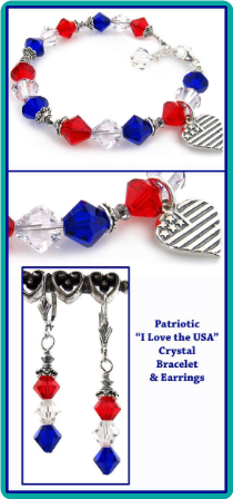 Red, White and Blue Crystal Bracelet & Earrings