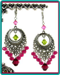 Fuchsia and Olive Crystal Chandelier Earrings