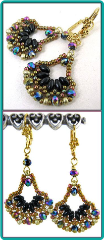 "Black and Shimmery Gold ""Bollywood"" Fan Earrings"