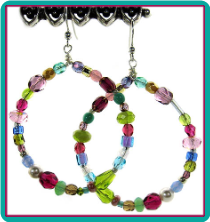 Fuchsia & Pastels Multicolor Beaded Hoop Earrings