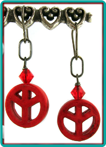 Red Peace Sign Earrings