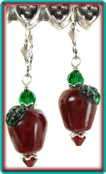 Dark Red Apple Earrings