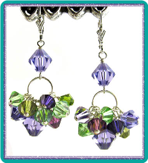 Purple and Green Crystal Basket Earrings