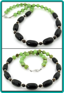Onyx and Green Agate Men's Beaded Necklace