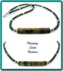 Planetary Swirls Lampwork and Turquoise Bead Necklace