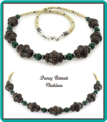 Fancy Barrels, Green Mountain Jade, and Riverstone Men's Bead Necklace