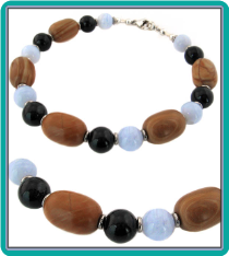 Tiger Jasper, Blue Lace Agate, and Onyx Men's Bead Bracelet