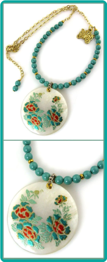 Jade Pearl Peonies Necklace