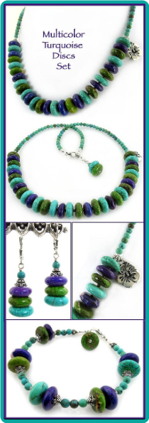 Multicolor Turquoise Disc Necklace Set