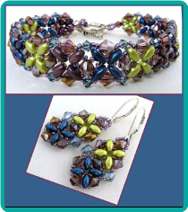 Purple, Green and Blue Criss Cross Crystal Bracelet