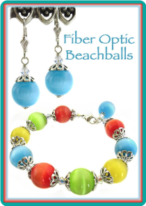 Fiber Optic Beachballs Bracelet & Earrings