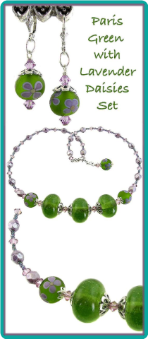 Paris Green with Lavender Daisies Lampwork and Crystal Set