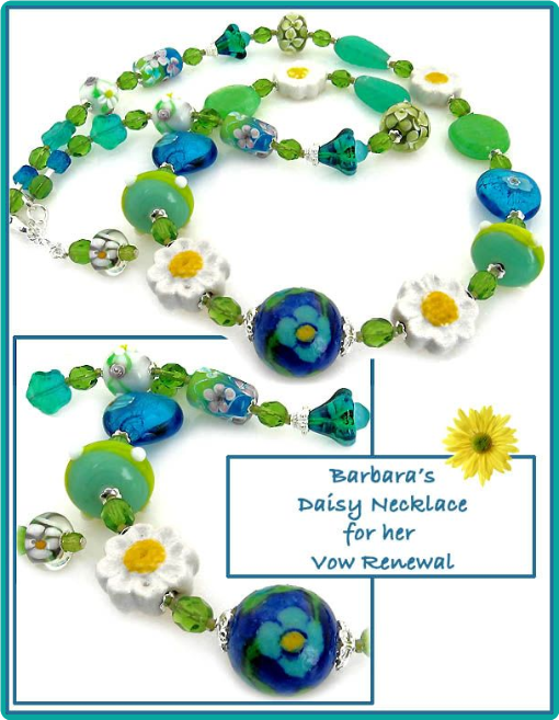 Daisies and hearts summer beaded necklace