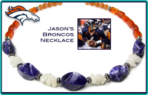 Custom designed Denver Broncos necklace made of natural stones in orange, blue and white