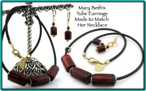 Custom garnet tube bead necklace and earrings