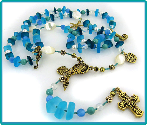 A gorgeous custom made rosary in colors and symbols of the sea