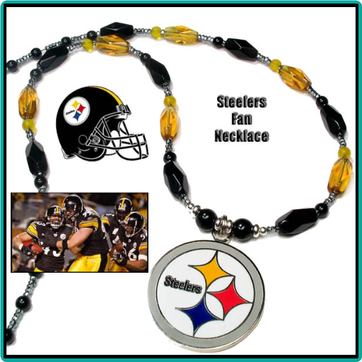 Custom designed Pittsburgh Steelers necklace in black and gold with logo pendant