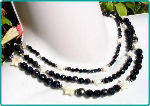 Sparkling midnight blue and pearly white stars 3-strand necklace