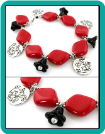 Red Diamonds and Black Flowers Charm Bracelet