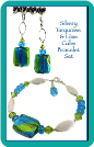 Silvery Turquoise and Lime Squares Bracelet and Earrings