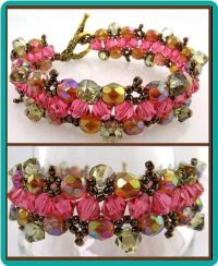 Carnation and Copper Crystal Weave Bracelet
