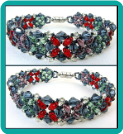 Blue, Green, and Red Cross Hatch Crystal Bracelet