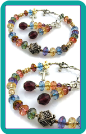 Multicolor Bracelet with Bali Silver and Cross Charm