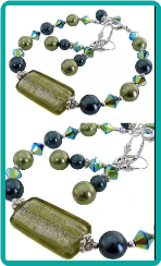 Sage Murano Lampwork and Midnight Blue Bracelet Set